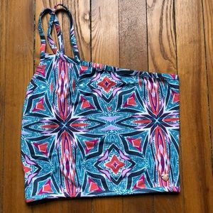 Crop One-Strap Tank with Fun Pattern